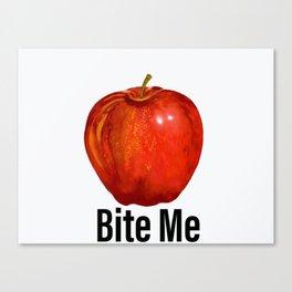 Muérdeme manzana roja Canvas Print