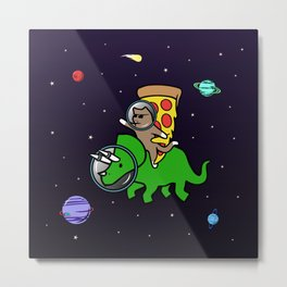Cat And Pizza Riding Triceratops In Space Metal Print