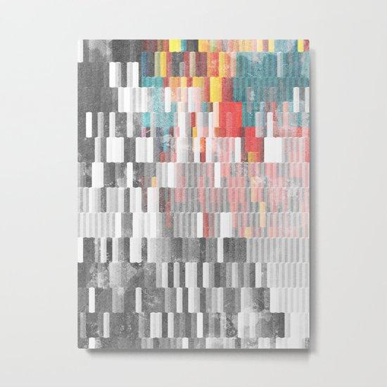Vibrant Graffity on Black and White Geometry Metal Print