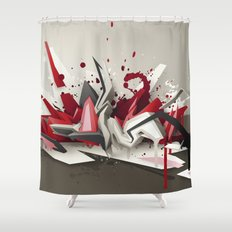 Red Metal Shower Curtain