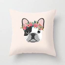 French Bulldog dog breed floral crown frenchies lover pure breed gifts Throw Pillow
