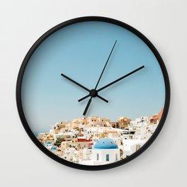 View of Santorini Island Greece Oia Wall Clock
