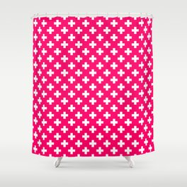 White Crosses on Hot Neon Pink Shower Curtain