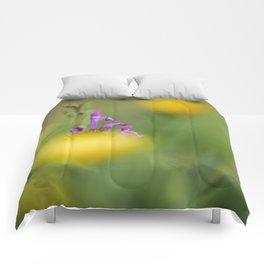 Purple, yellow and green bokeh Comforters
