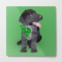 Low Polygon Black Labrador - Green Bow Metal Print