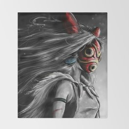 Miyazaki's Mononoke Hime Digital Painting the Wolf Princess Warrior Color Variation Throw Blanket
