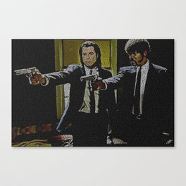 Text Portrait of Vincent Vega and Jules Winnfield with Full Script of Pulp Fiction Canvas Print