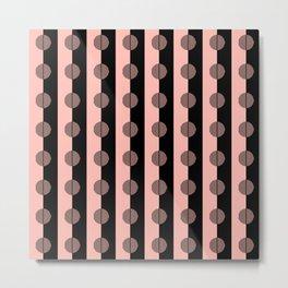 Horizons Geometric Stripes - Peach Pink & Black Metal Print