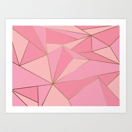 Modern abstract pink polygon artistic geometric with gold line background illustration Art Print