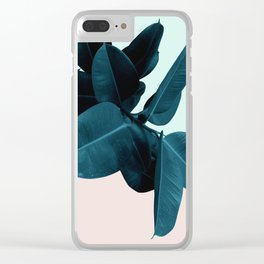 Blue Leaves Clear iPhone Case