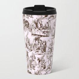Alice in Wonderland | Toile de Jouy | Brown and Pink Travel Mug
