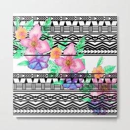 Exotic hawaiian floral watercolor black aztec pattern Metal Print