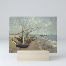 Fishing boats on the beach at Les Saintes-Maries-de-la-Mer Mini Art Print