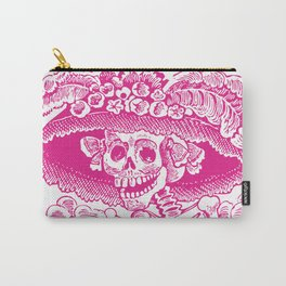 Calavera Catrina | Pink and White Carry-All Pouch