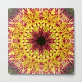 Dahlia 'Jessica' fiery kaleidoscope/mandala Metal Print