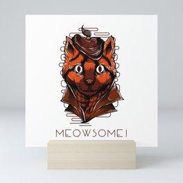 Meowsome meow cat kitty detective secret agent Mini Art Print