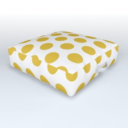 Mustard Yellow and White Polka Dots 771 Outdoor Floor Cushion