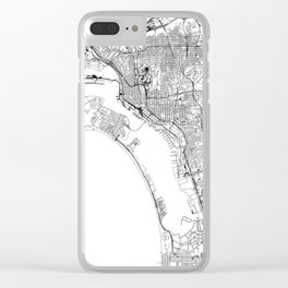 San Diego White Map Clear iPhone Case