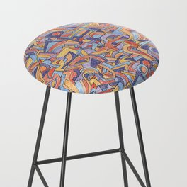 Party in Orange and Blue Bar Stool