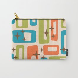 Retro Mid Century Modern Abstract Pattern 921 Orange Chartreuse Turquoise Carry-All Pouch