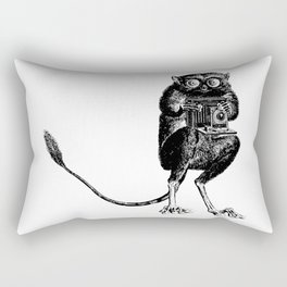 Say Cheese! | Tarsier with Vintage Camera | Black and White Rectangular Pillow