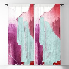 Desert Daydreams [3]: a colorful abstract mixed media piece in purple blue pinks and orange Blackout Curtain