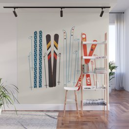 Retro Ski Illustration Wall Mural