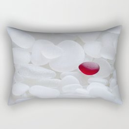 Drop of Red - Japanese Red Sea Glass Rectangular Pillow