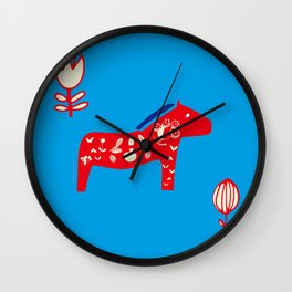 Dala Horse blue Wall Clock