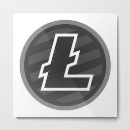Litecoin LTC Dark Gray, White L Classic Logo Metal Print