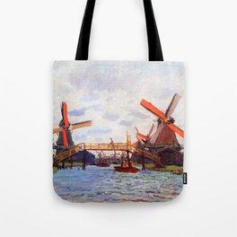 12,000pixel-500dpi - Claude Monet - Mills at Westzijderveld near Zaandam - Digital Remastered Tote Bag