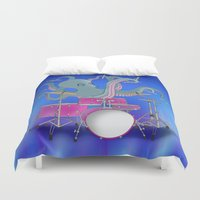 drums Duvet Covers featuring Octopus Playing Drums - Blue by Ornaart
