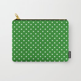 Dots (White/Forest Green) Carry-All Pouch