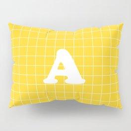 Monogram A on Grid - white on yellow Pillow Sham