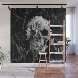 Floral Marble Skull Wall Mural
