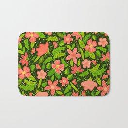 Big Bloomers (on Very Dark Green) Bath Mat