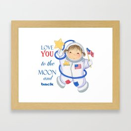 All American I love you girl astronaut Framed Art Print