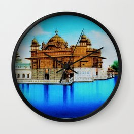 Classical Masterpiece 1825 Sri Harimandir Sahib - Golden Temple, Amritsar, India - Artist Unknown Wall Clock