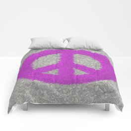 Fuchsia Splat Painted Peace Sign Comforters
