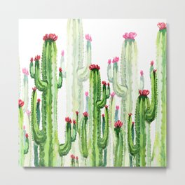Green Cactus Field Metal Print