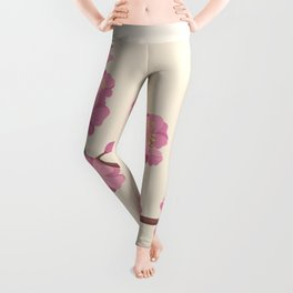 Pink Peach Blossoms on Beige Background Leggings