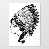 indian Canvas Prints featuring Indian by Joshua Bowers