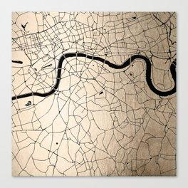 London Gold on Black Street Map II Canvas Print