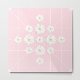 White flowers symmetrically pink background Metal Print