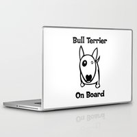 bull terrier Laptop & iPad Skins featuring Bull terrier on Board by rainbowarts