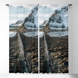 Icelandic black sand beach and mountain road - landscape photography Blackout Curtain