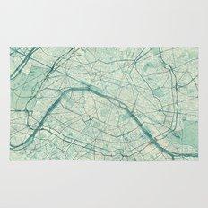 Paris Map Blue Vintage Rug
