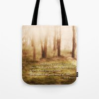 forrest gump Tote Bags featuring Forrest by Terri Ellis