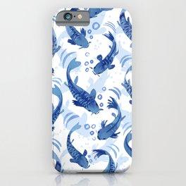 Koi Fish Dance / blue watercolor iPhone Case
