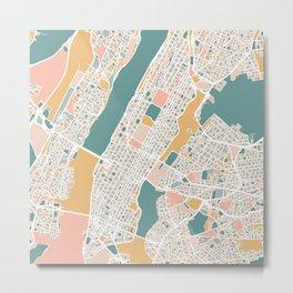 Manhattan New York Map Art Metal Print